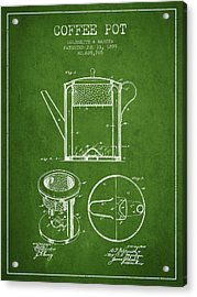 1899 Coffee Pot Patent - Green Acrylic Print