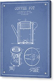 1899 Coffee Pot Patent -  Light Blue Acrylic Print