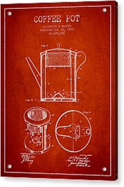 1899 Coffee Pot Patent - Red Acrylic Print