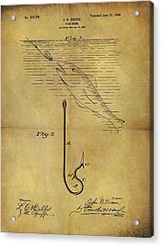 1899 Fish Hook Patent Acrylic Print by Dan Sproul