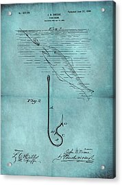 1899 Fishing Hook Patent Blue Acrylic Print
