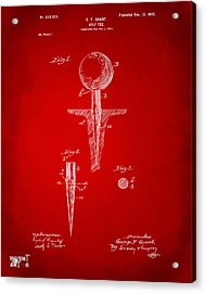 1899 Golf Tee Patent Artwork Red Acrylic Print by Nikki Marie Smith
