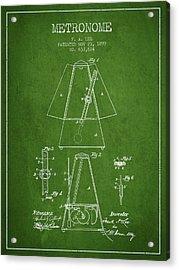 1899 Metronome Patent - Green Acrylic Print