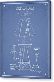 1899 Metronome Patent - Light Blue Acrylic Print