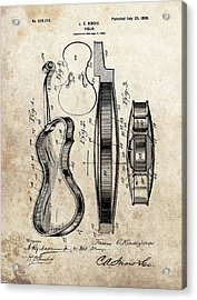 1899 Violin Patent Illustration Acrylic Print