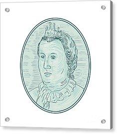 18th Century European Empress Bust Oval Drawing Acrylic Print by Aloysius Patrimonio