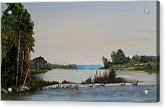 Acrylic Print featuring the painting 19 Geese by Marilyn  McNish