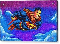 Superman Costume Acrylic Print by Egor Vysockiy