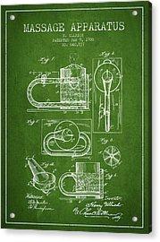1900 Massage Apparatus Patent - Green Acrylic Print