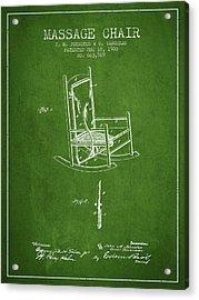 1900 Massage Chair Patent - Green Acrylic Print