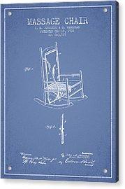 1900 Massage Chair Patent - Light Blue Acrylic Print