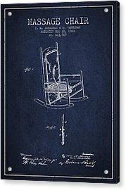 1900 Massage Chair Patent - Navy Blue Acrylic Print