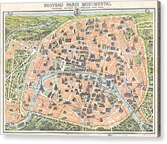 1900 Pocket Map Or Plan Of Paris France Acrylic Print by Celestial Images