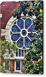 1901 Antique Uab Gothic Stained Glass Window Acrylic Print by Kathy Clark