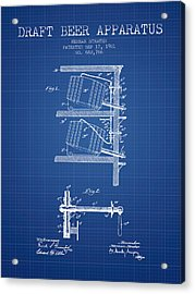 1901 Draft Beer Apparatus - Blueprint Acrylic Print by Aged Pixel