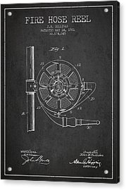 1901 Fire Hose Reel Patent - Charcoal Acrylic Print
