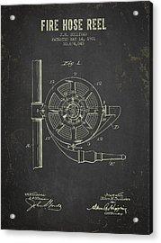 1901 Fire Hose Reel Patent- Dark Grunge Acrylic Print
