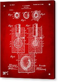 1902 Golf Ball Patent Artwork Red Acrylic Print by Nikki Marie Smith