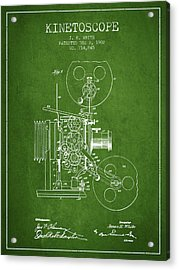 1902 Kinetoscope Patent - Green Acrylic Print