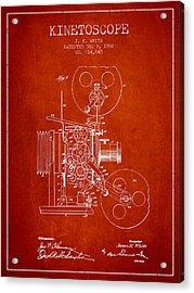 1902 Kinetoscope Patent - Red Acrylic Print