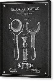 1902 Massage Device Patent - Charcoal Acrylic Print