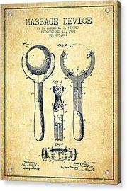 1902 Massage Device Patent - Vintage Acrylic Print