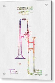 1902 Trombone Patent - Color Acrylic Print by Aged Pixel