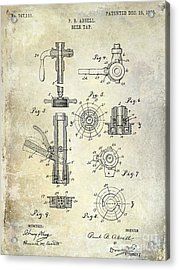 1903 Beer Tap Patent Acrylic Print