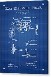 1903 Bike Extension Frame Patent - Blueprint Acrylic Print by Aged Pixel