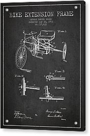 1903 Bike Extension Frame Patent - Charcoal Acrylic Print by Aged Pixel