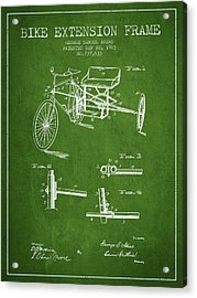 1903 Bike Extension Frame Patent - Green Acrylic Print by Aged Pixel