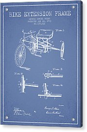 1903 Bike Extension Frame Patent - Light Blue Acrylic Print by Aged Pixel