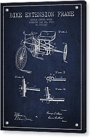 1903 Bike Extension Frame Patent - Navy Blue Acrylic Print by Aged Pixel
