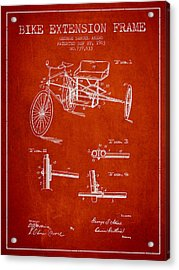 1903 Bike Extension Frame Patent - Red Acrylic Print by Aged Pixel