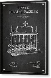 1903 Bottle Filling Machine Patent - Charcoal Acrylic Print by Aged Pixel