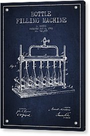 1903 Bottle Filling Machine Patent - Navy Blue Acrylic Print