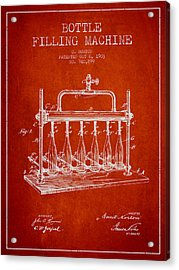 1903 Bottle Filling Machine Patent - Red Acrylic Print