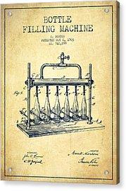 1903 Bottle Filling Machine Patent - Vintage Acrylic Print