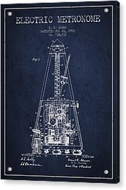 1903 Electric Metronome Patent - Navy Blue Acrylic Print by Aged Pixel
