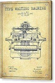 1903 Type Writing Machine Patent - Vintage Acrylic Print
