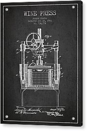 1903 Wine Press Patent - Charcoal Acrylic Print