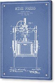 1903 Wine Press Patent - Light Blue Acrylic Print