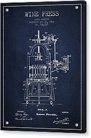 1903 Wine Press Patent - Navy Blue 02 Acrylic Print by Aged Pixel