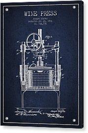 1903 Wine Press Patent - Navy Blue Acrylic Print