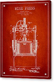 1903 Wine Press Patent - Red Acrylic Print