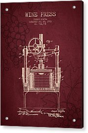 1903 Wine Press Patent - Red Wine Acrylic Print