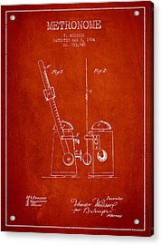 1904 Metronome Patent - Red Acrylic Print