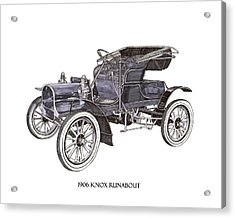 Acrylic Print featuring the drawing 1906 Knox Model F 3 Surry by Jack Pumphrey
