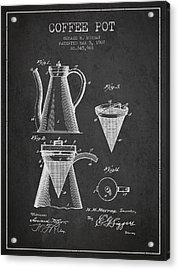 1907 Coffee Pot Patent - Charcoal Acrylic Print