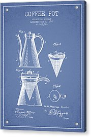1907 Coffee Pot Patent - Light Blue Acrylic Print
